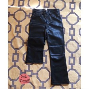 black leather pants.  Wide boot new